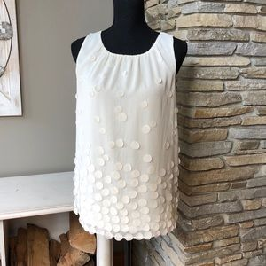 Flirty Flowing Top with Round Appliqués